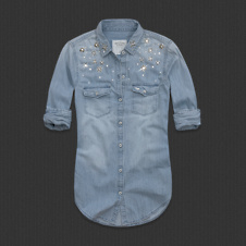 Womens Caily Embellished Denim Shirt