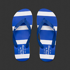 Mens Striped Rubber Flip Flops