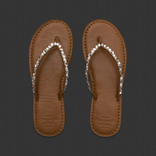 Womens Shine Leather Flip Flops