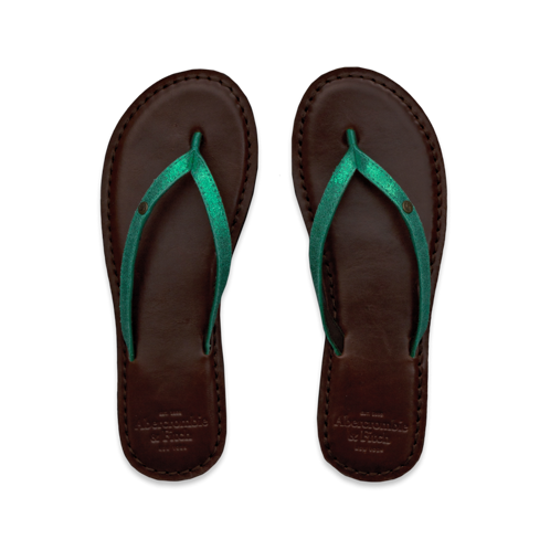 Womens Dark Leather Flip Flops