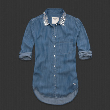Womens Hallie Shine Collar Denim Shirt