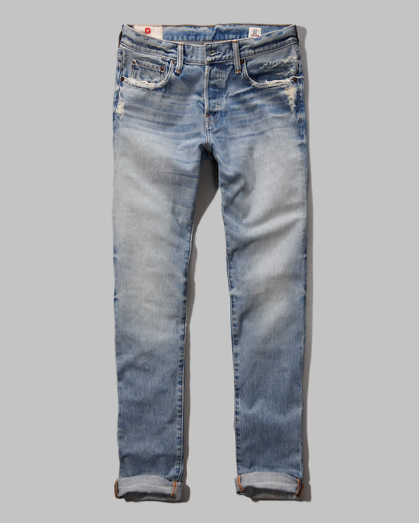 Mens Premium Skinny Button Fly Jeans