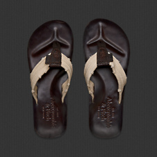 Mens Genuine Leather Flip Flops