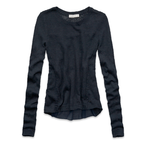 Womens Kendell Chiffon Back Sweater