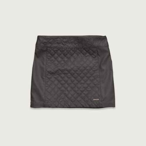 Womens Quilted Vegan Leather Skirt