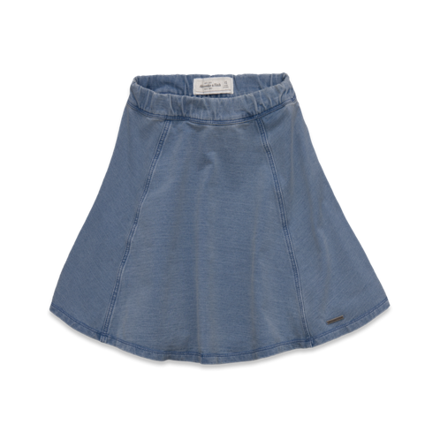 Womens A&F Natural Waist Denim Skater Skirt