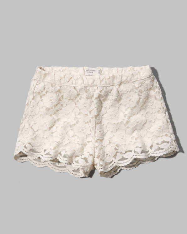 Womens A&F High Rise Lace Shorts