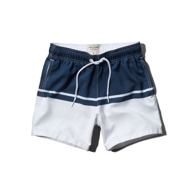 Mens A&F Campus Fit Swim Shorts