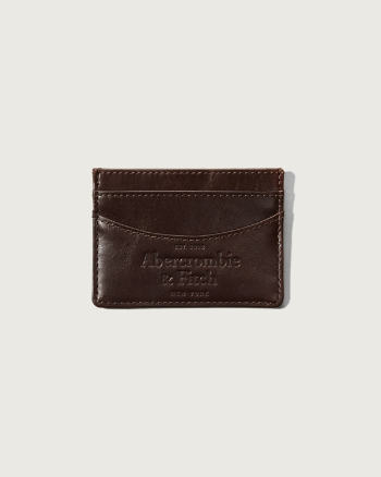 Mens Logo Embossed Leather Card Case
