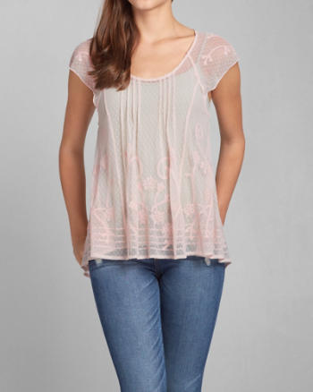 Womens Sheer Embroidered Blouse