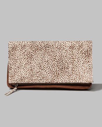 Womens Calf Hair Foldover Clutch