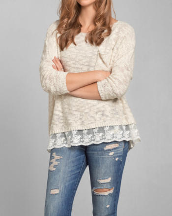 Womens Shannon Lace Hem Sweater