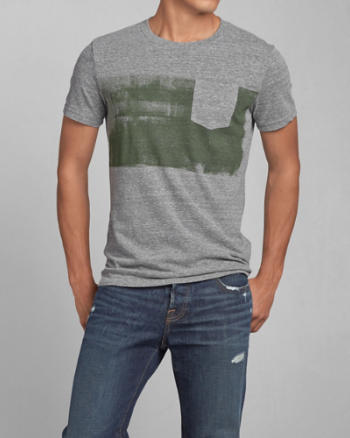 Mens Paint Stripe Pocket Tee