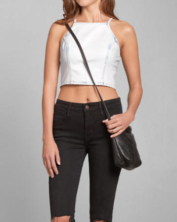 Womens Denim Slim Crop Top