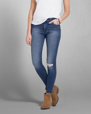 Womens A&F Cara High Rise Jean Ankle Leggings