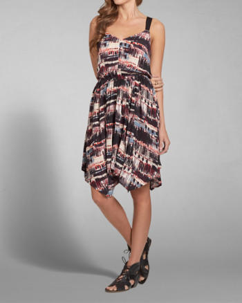 Womens Lindsey Asymmetric Printed Dress