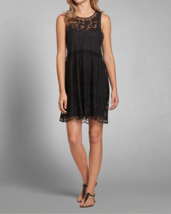Womens Sheer Embroidered Dress