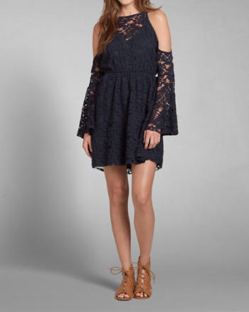 Womens Lace Open Shoulder Dress
