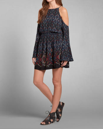 Womens Patterned Open Shoulder Boho Dress