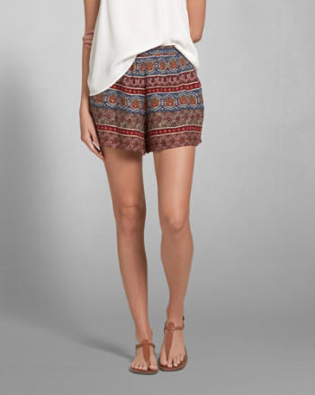 Womens Drapey Printed Shorts