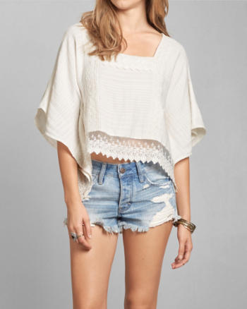 Womens Lace Crop Poncho
