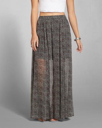 Womens Pattern Chiffon Maxi Skirt