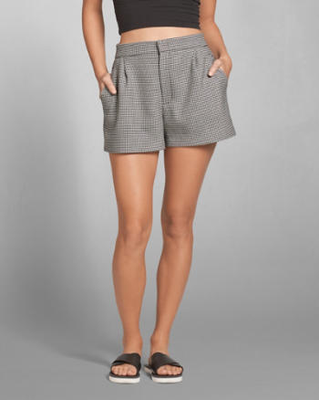 Womens Plaid Pleated Shorts