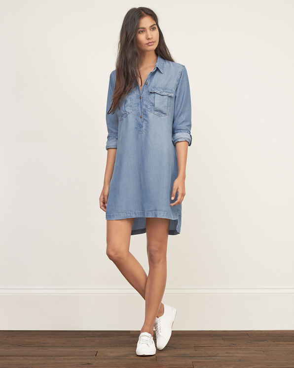 Perfect SWELL Chambray Shirt Dress Womens Dresses Gathered Skirt Centre Front Button Placket Chest Pockets Sleeve Vent 100% Cotton Chambray Imported Vendor Style  S8172449 Model Is Wearing Size Small Models Height