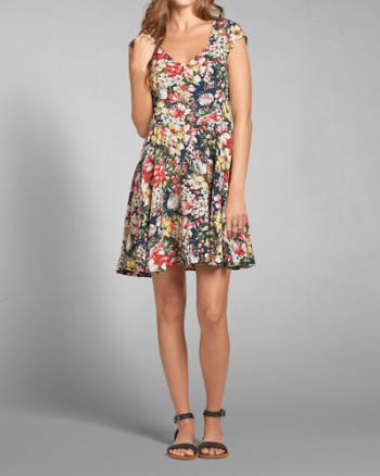 Womens Floral Cutout Dress