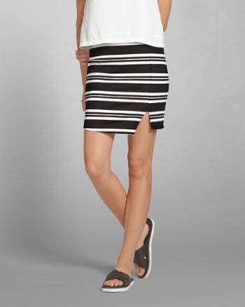 Womens Striped Neoprene Mini Skirt