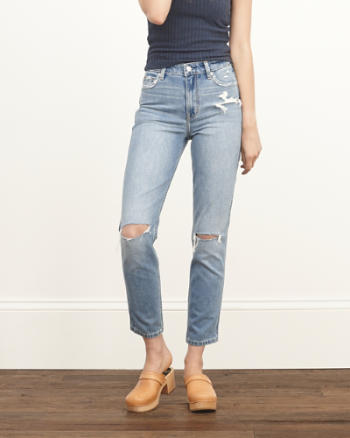 Womens A&F High Rise Girlfriend Jeans