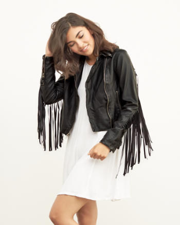 Womens Fringe Vegan Leather Moto Jacket