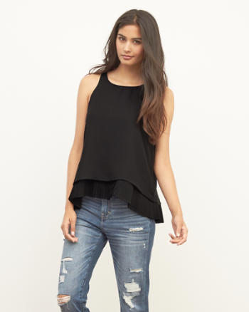 Womens Pleat Hem Tank
