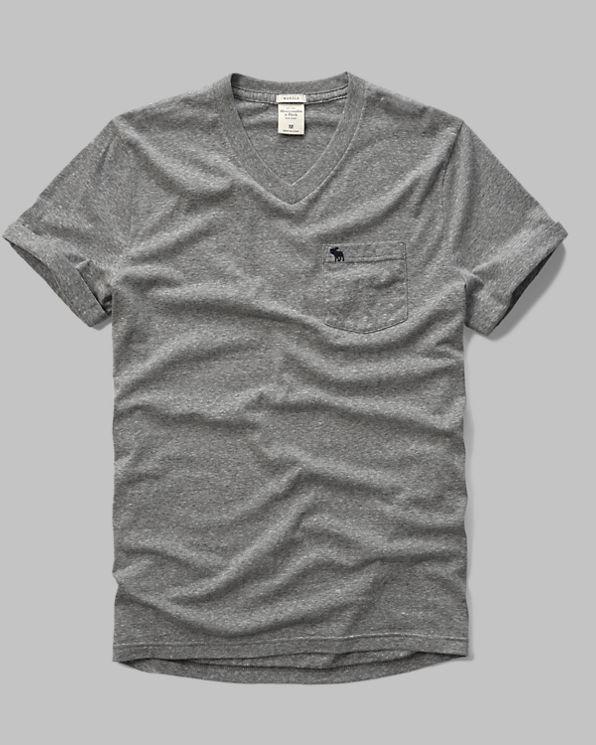 Mens cuffed v neck pocket tee mens tees henleys for Men s v neck pocket tee shirts