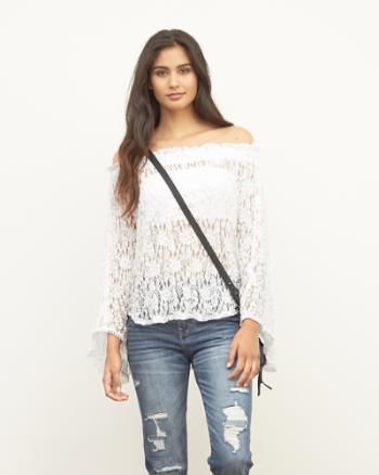Womens Off the Shoulder Peasant Blouse