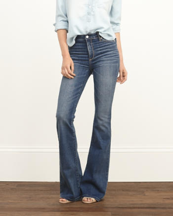 Womens A&F High Rise Flare Jeans