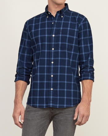 Mens Muscle Fit A&F Check Shirt