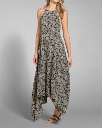 Womens Patterned High Neck Maxi Dress