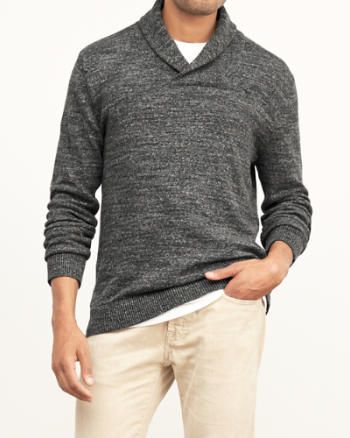 Mens Textured Shawl Collar Sweater