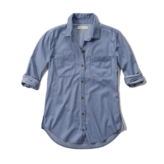 Womens drapey chambray shirt for Chambray shirt women