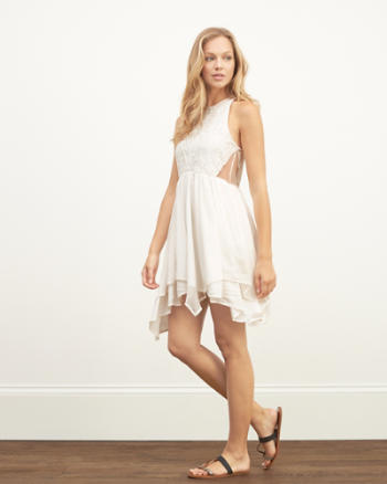 Womens Lace Panel Skater Dress