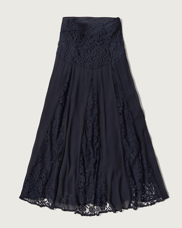 womens lace panel maxi skirt
