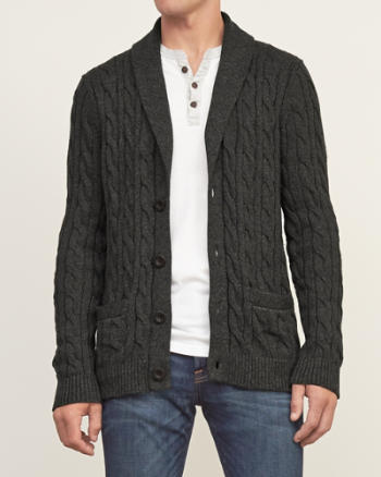 Mens Cable Knit Shawl Cardigan