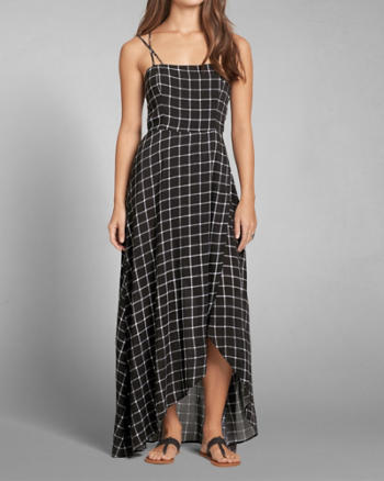 Womens Patterned Wrap Skirt Maxi Dress