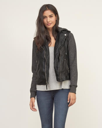 Womens Vegan Leather Hooded Biker Jacket