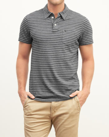 Mens Striped Pocket Polo