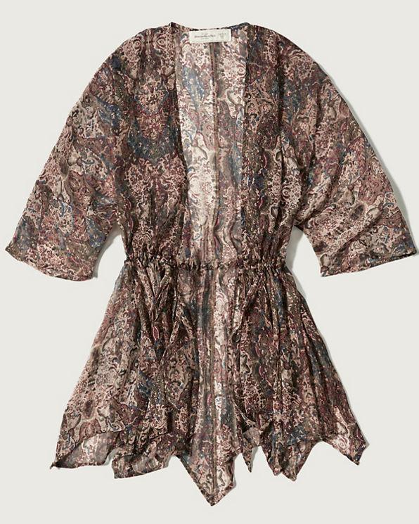 Patterned Chiffon Kimono