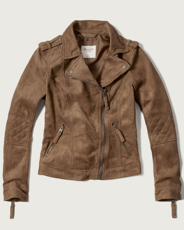 Womens Faux Suede Moto Jacket