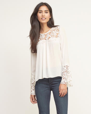 Womens Cutwork Peasant Blouse