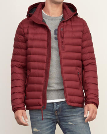 Mens A&F All-Season Lightweight Hooded Down Jacket